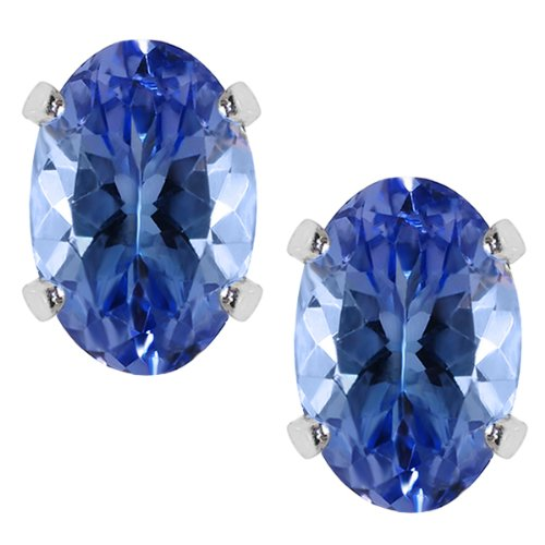 1.00 Ct Tanzanite Sterling Silver Stud Earrings 6X4MM