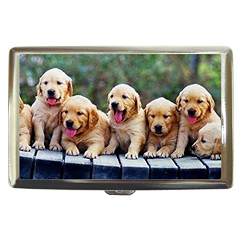 Golden Retriever Puppy Dog Custom Business Name Card Money Credit Card Holder Box Case front-143675