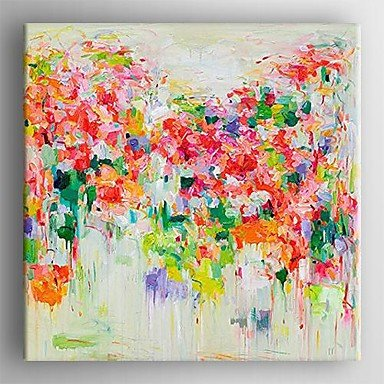 Sanbay Art 100% Hand Painted Oil Paintings on Canvas Hot Sale Abstract Colorful Flowers Wood Framed Inside 1-piece Set Artwork for Living Room Kitchen and Home Wall Decoration
