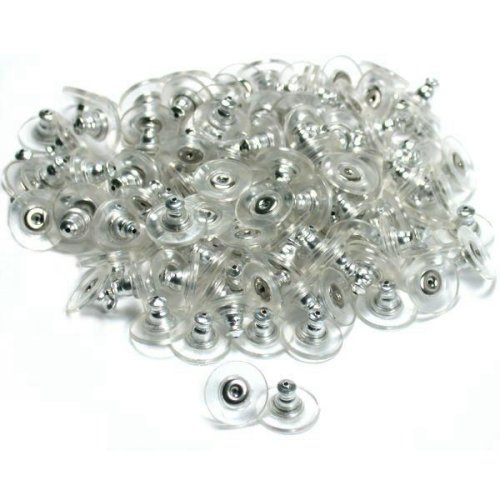 Silver Tone - Safety Earring Backs - Ear Nut with Comfort Pad - Hypoallergenic (144)