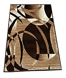 Chocolate Circles - Modern Area Rug Carpet Mat - 3 feet x 2 feet - Brown, Beige, White & Grey - Richy-RIch Collection