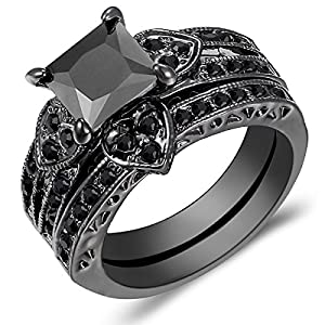 Jewelry Womens Heart Shaped Black Square Diamond Black Gold Wedding Rings Set Size 5-11 (11)