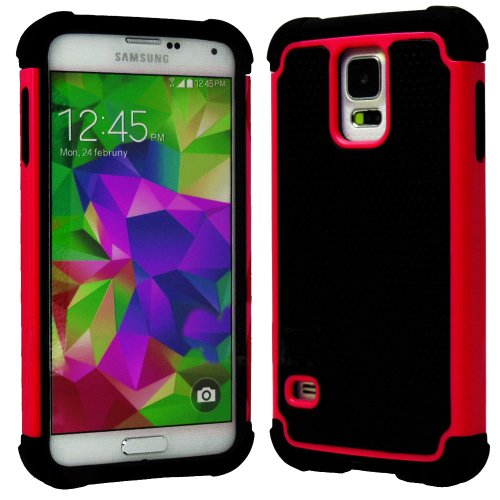 myLife Black and Bright Red - Free Flex Series (2 Layer Neo Hybrid) Slim Armor Case for the NEW Galaxy S5 (5G) Smartphone by Samsung (External Rubberized Hard Shell Flex Piece + Internal Soft Silicone Flexible Bumper Gel)