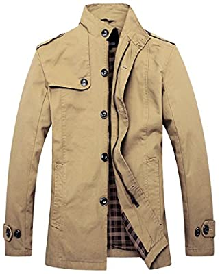 Wantdo Mens Single-Breasted Wind Coat