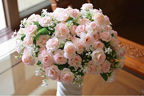 Get Orange Artificial Rose Silk Flower Garland Flower Vine for Home Wedding Garden Decoration Silk Flower Green Leaf Vine (4,light pink)