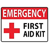 """Emergency First Aid Kit 4""""x5"""" Safety Sign Sticker Decal Vinyl Cross"""