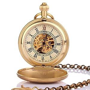Yesurprise Antique Vintage Bronze Men Pocket Chain Hand Mechanical Pendant Clock Watch Gift #3