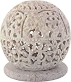 Shaw Sons Stone Handwork Candle Stand (7 x 7 x 9 cms, White)