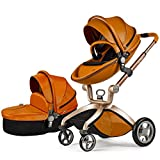Hot Mom Kombikinderwagen und Buggy Sportwagen 3-in-1 Travelsystem 2016 Fashion mit Kinderwagenaufsatz,Braun