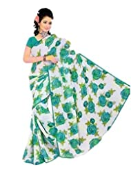 White And Green Printed Lace Border Saree