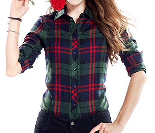 Yasong Women Girls Students Plaid Tartan Checked Long Sleeve Casual Work Shirt Blouse B2044B UK 14