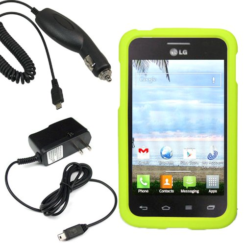 Bj Shield Cover Snap On Case For Net 10, Straight Talk, Tracfone Lg Optimus Dynamic Ii L39C + Car + Home Charger-Neon Green