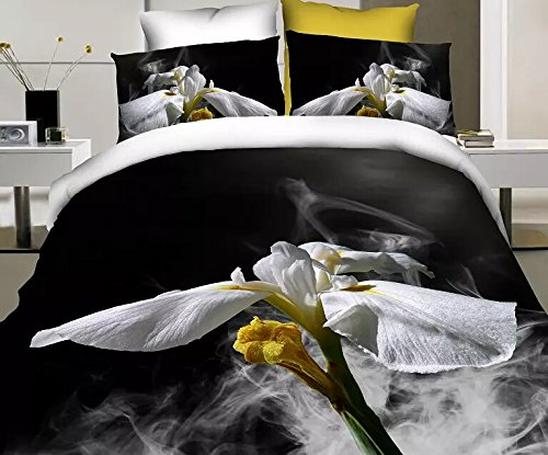 Queen Size 100% Cotton 4-Pieces 3D Big White Yellow Flowers White And Black Floral Prints Duvet Cover Set/Bed Linens/Bed Sheet Sets/Bedclothes/Bedding Sets/Bed Sets/Bed Covers/5-Pieces Comforter Sets (5) front-939837