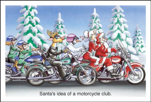 Harley Davidson Christmas Cards, Santas Idea of a Motorcycle Club, Pack of 10 with envelopes