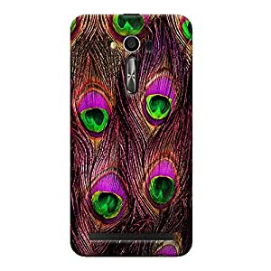ColourCrust Asus Zenfone 2 Laser ZE550KL / Zenfone 5.5 Mobile Phone Back Cover With Peacock Feather Pattern Style - Durable Matte Finish Hard Plastic Slim Case
