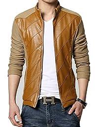 KIWEN® Men\'s PU Leather Collar Jacket Casual Wear(Yellow,S size)