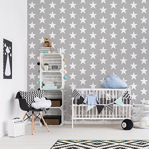 kindertapeten vliestapeten wei e sterne auf grauen. Black Bedroom Furniture Sets. Home Design Ideas