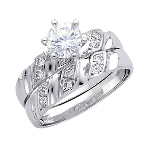 14K White Gold Round-cut CZ Cubic Ziconia Solitaire Ladies Engagement Ring and Wedding Band 2 Two Piece Set