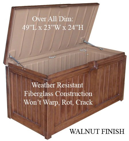 Buy Fiberglass Teak Wooden Patio Deck Pool Storage Box