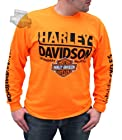 Harley-Davidson Mens Flamin Crazy Legendary Motorcycles Safety Orange T-Shirt-2X