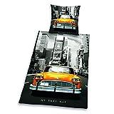 Herding 445960050 - Juego de funda n�rdica de lin�n con dise�o de taxi de Nueva York (80 x 80 cm + 135 x 200 cm)