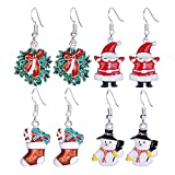 Zhenhui Set of 4 Pairs Silver Tone Christmas Dangle Earrings Set for Women Girls with Red Wreath Santa Claus Stockings White Snowman Xmas Thanksgiving Themed Gift