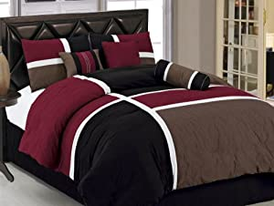 Chezmoi Collection 7-Piece Quilted Patchwork Comforter Set, Burgundy/Brown/Black, California King