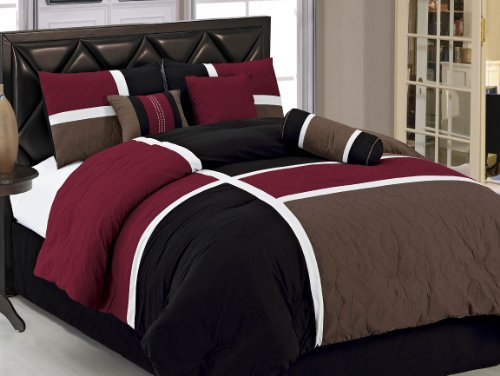 Best Deals! Chezmoi Collection 7-Piece Quilted Patchwork Comforter Set, Queen, Burgundy, Brown and B...