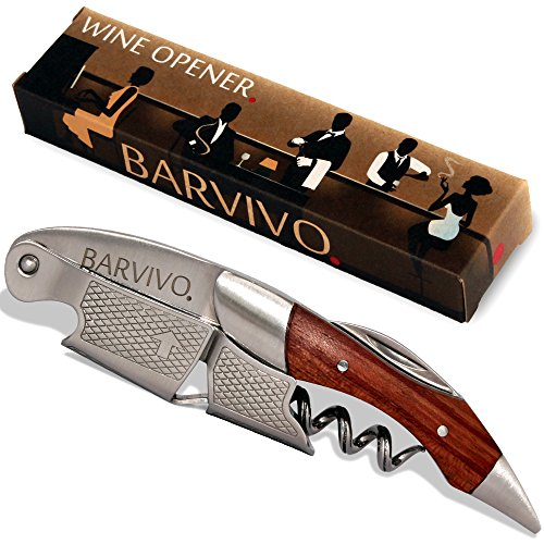 Professional Waiters Corkscrew by Barvivo - This Bottle Opener for Wine and Beer Bottles is Used by Waiters, Sommelier and Bartenders Around the World. Made of Rosewood and Thick Stainless Steel. (Wine Bottle Opener Prongs compare prices)