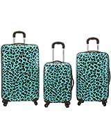 Rockland Luggage 3 Piece Snow Leopard Polycarbonate Upright Set