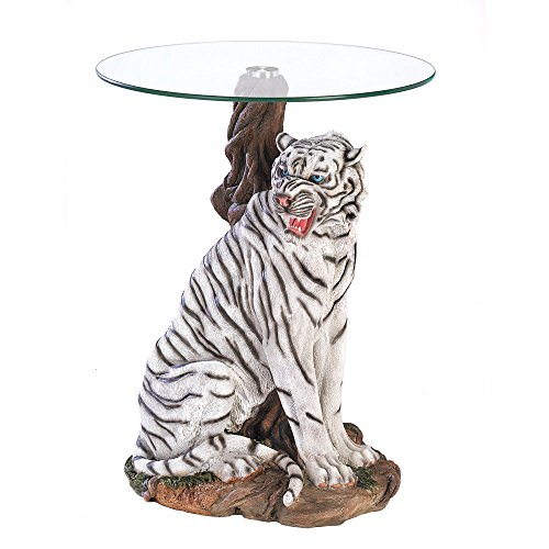 "New 19""-Dia White Tiger-Sculptural Polystone-Base Glass-Top Accent Coffee Table"