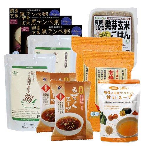 断食回復食セット3日分(活性発芽玄米粥2個・みそ汁2個・黒テンペ粥3個・もずくスープ2個・活性有機発芽玄米ごはん1個・野菜スープ1個,説明書)