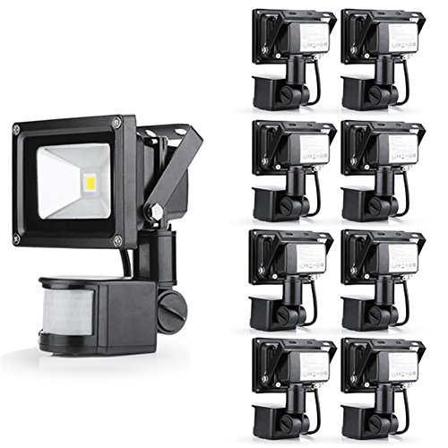 Gemeric 10W Warm White 110V Led Floodlight Pir Motion Sensor Security Outdoor Spot Lamp Ip65 Pack Of 9