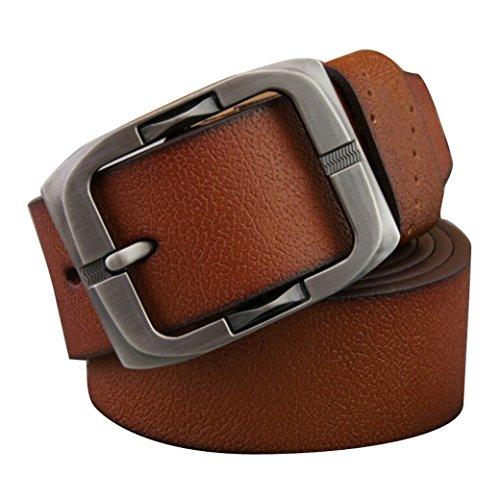 Tangda Mens Vintage Pin Metal Buckle Flat Solid Waist Leather Belt - Light Brown Size L