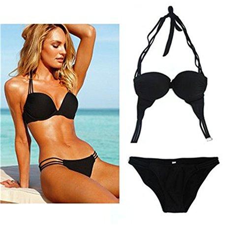Gritu Women Sexy 2 Pieces Padded Bathing Swimsuit Swimwear Bikini Set Beachwear Black M