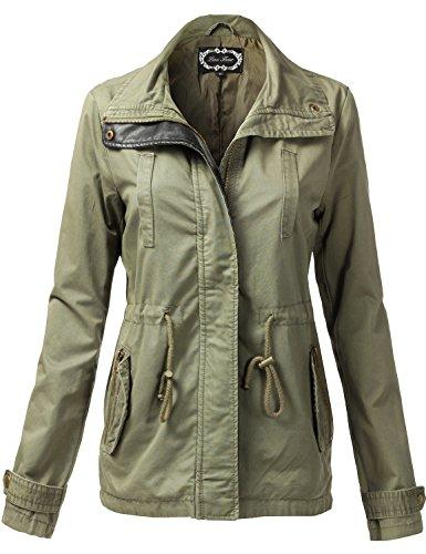Warm Waist Drawstring Hooded Zipper Utility Jackets (Fur Trim Hood Vest compare prices)