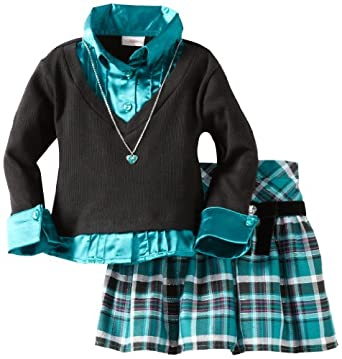 Youngland Little Girls' Two Piece Plaid Skirt Heart Necklace Set, Teal Black, 4