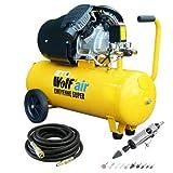 Wolf 10BAR Cheyenne 50L 3HP 14CFM 230v Air Compressor +10m Hose + Die Grinder