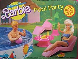 CALIFORNIA DREAM Barbie POOL PARTY 25 Piece Playset (1987 Arco Toys, Mattel)