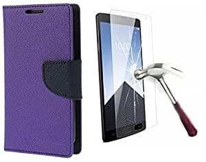 Online Street Wallet Flip With Tempered Glass For Xiaomi Mi4i - (Purple + Tempered)