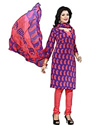 Beautiful Blue & Red Coloured Printed Dress Material