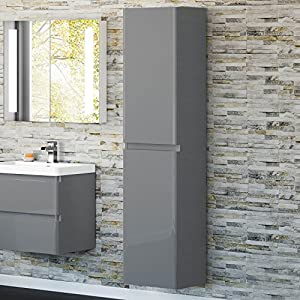 1700mm tall gloss grey wall hung bathroom furniture soft close cabinet