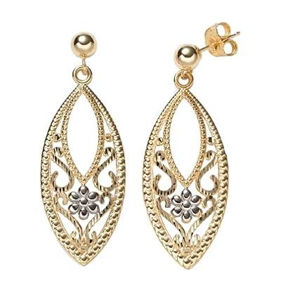 Amazon.com: 14k Yellow Gold Polished Diamond-Cut Dome Swirl Earrings
