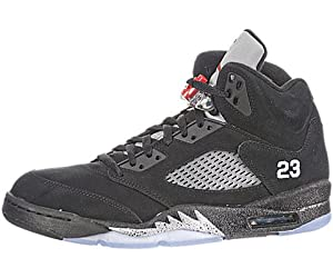 Nike Air Jordan 5 Retro Black Varsity Red Silver (136027-010) (Mens US8.5)