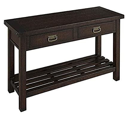 Sofa Table with Drawers in Rough Sawn Mahogany