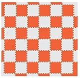 MAMENCHI フロアマット つなげてカラフル 全長約174×174(cm) オレンジベージュ 正方形マット36枚(6×6) エッジマット短20枚 エッジマット長4枚 M-0059