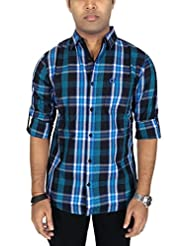 Southbay Men's Cyan & Black 100% Cotton Twill Long Sleeve Checkered Casual Shirt