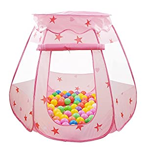 Children Play Tent Motring Portable Pink Princess Tent with Large Space Fun Playhouse Outdoor/Indoor Play Tent House Kid's Play Balls Pool Hut (Balls Not Included)