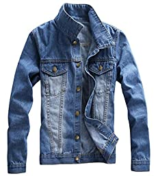 Unko Men\'s Classical Denim Jacket Rugged Wear Cowboy Coat Light Blue US L