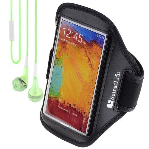 Sumaclife Workout Sports Armband For Samsung Galaxy Note 2 / Samsung Galaxy Note 3 / Lg Optimus G Pro + Green Vangoddy Headphone With Mic (Black-3)